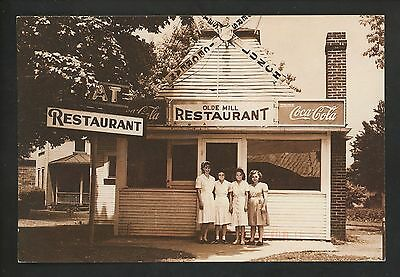 Coca Cola Coke postcard Advertising Restuarant store front Olde Mill
