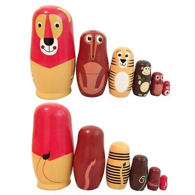 6Pcs/set Schima Dolls Russian Nesting Forest Animals Fox Hand Painted Toys New