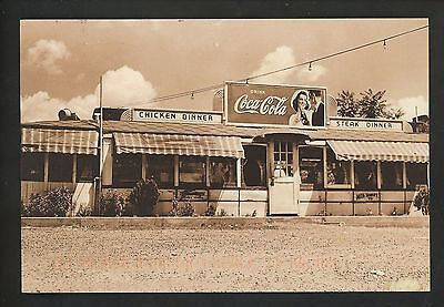 Coca Cola Coke postcard Advertising Restuarant store front