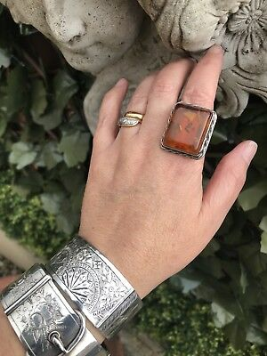 Vintage Huge Geometric Art Deco Style Sterling Silver & Amber  Statement Ring