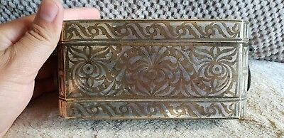 19th C antique Philippines-Bronze Betel Nut Box With Elaborate Silver Inlay