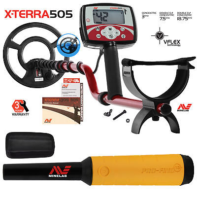 """Minelab X-Terra 505 Metal Detector with 9"""" Search Coil & Pro Find 15 Pinpointer"""