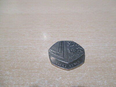 50p Fifty Pence Coin - 2014 - Royal Mint British Shield of Arms - Circulated.