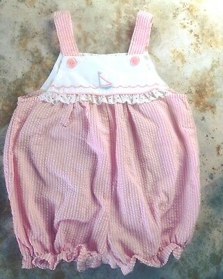 Vintage Baby Girls Pink Gingham Bubble Romper 18 Months Sail Boat