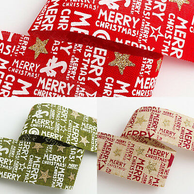 Kraft Christmas Ribbon Reindeer Gold and Red Merry Sparkle 38mm Burlap Green
