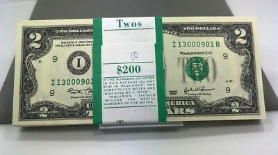 "2003 ""ib"" Minneapolis  $2 Full Pack Bep Strap $200 Face 100 Consecutive Cu Notes"