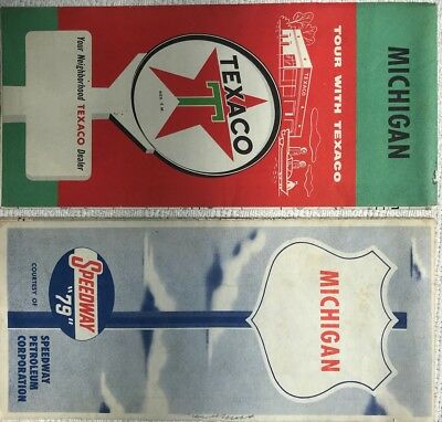 LOT OF TWO VINTAGE Michigan Road  Maps-- Texaco and Speedway Late 50s Early 60s