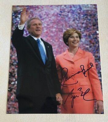 President George W Bush & Laura Bush Signed Autographed 8x10 Photo  *SALE*