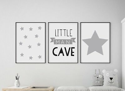 Set of 3 Little Man Cave Stars Kids Room Nursery Wall Art Prints Grey & White