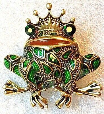 Frog King Green and Gold Enamel Alloy with Crystal Eyes Pin Brooch Jewelry