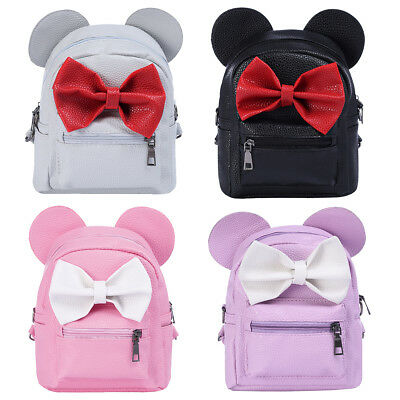 Kids Girl Minnie Mouse PU Leather Backpack Bowknot Shoulder Bag School Bookbag