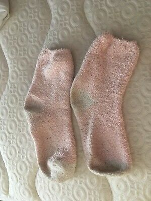 Pale Pink and White Fluffy Bed Socks - to fit size 5