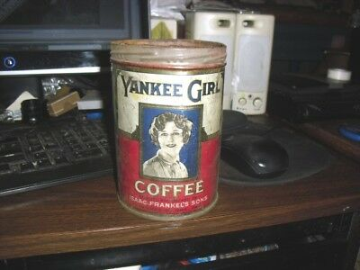 Vintage Yankee Girl Coffee tin  Frankel's Son Wilkes Barre, Pa. no lid Rare one