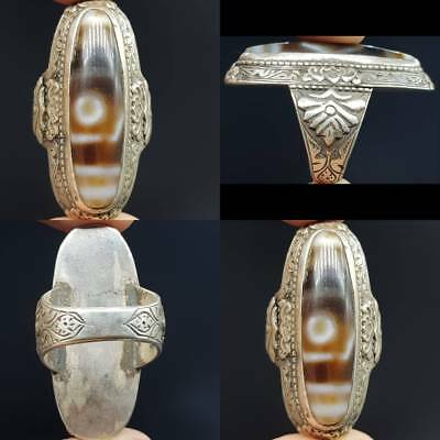 Silver Antique Ring Old Dzi one Eye evil protector  Agate Stone Rare   # 4F