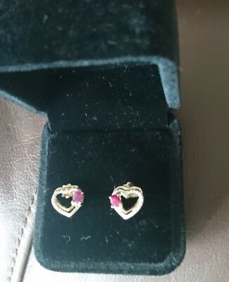 9ct Gold Ruby And Diamond Accent Heart Studs New
