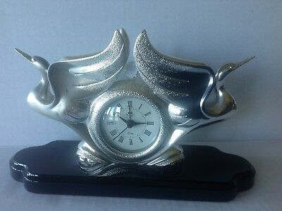 Vintage Ottaviani Clock Sculpture Silver 800 Coated Statue  Made in Italy
