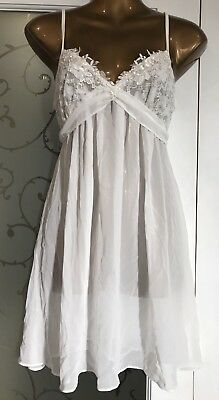 b7b3e19fb In Bloom By Jonquil Sheer Bead And Lace Chemise White Size Small