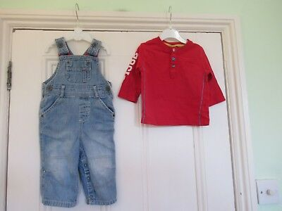 9-12m: Cute outfit: M&S pale blue denim dungarees & NEXT red top: Good condition