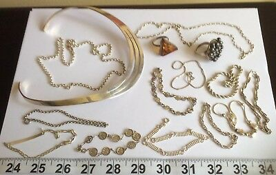Job Lot Sterling Silver 925 All Hallmarked Mixed Bracelets-Necklaces Jewellery