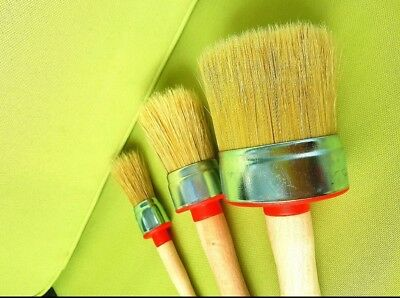 3-CHALK PAINT and WAX shabby pure bristle ROUND PAINT BRUSHES set:60mm 30mm 20mm