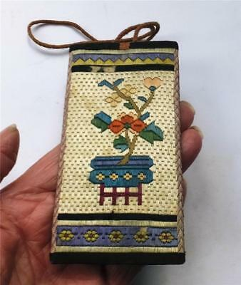 ANTIQUE/VINTAGE CHINESE COSTUME ACCESSORY/CASE - EMBROIDERED on SILK