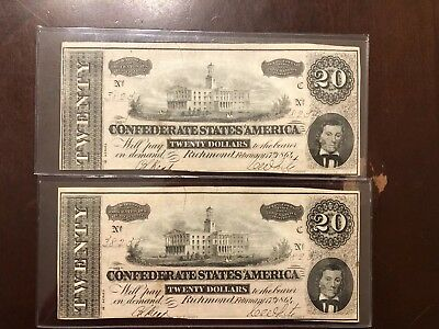 Civil War Confederate Currency T67 $20 Note 1864 Consecutive Serial Numbers Note