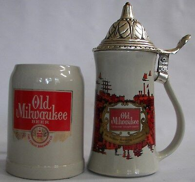 Old Milwaukee Beer, early stein & later mug, Jos. Schlitz Brewery, Stroh Brewery