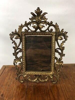 Vintage Victorian Brass Ornate Picture Frame - Easel Style