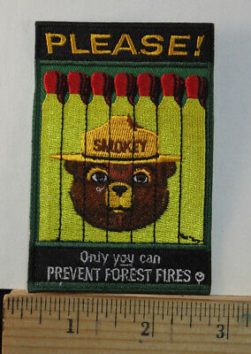 "Smokey The Bear, ""Please Only You Can..."" Embroidered Iron-on Patch 3.5x2.5"""