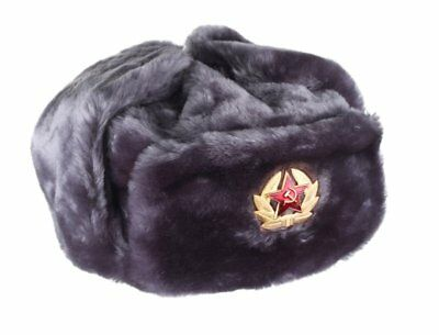 Ushanka Russian Military Ussr Army Fur Winter Hat Soviet Soldier Red Star Badge