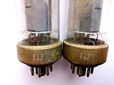 2X EL34 black metal base SYO-56C=Philips 03.1956 one piece disk Getter + hole