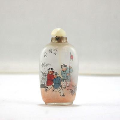 Vintage Chinese Asian Glass Painted Snuff Medicine Bottle Three boys