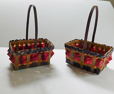 2 Small Vintage Easter Baskets Woven Colors Occupied Japan