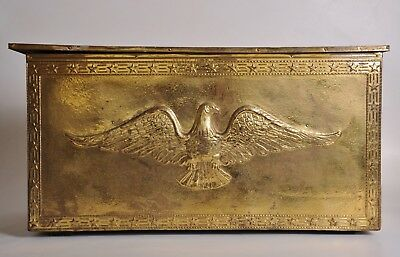 Vintage LARGE Brass EAGLE Pressed Tin Storage Trunk Made in England Firewood Box