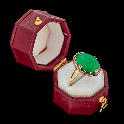 Antique Vintage Art Deco 14k Gold Chinese Imperial Jadeite Jade Band Ring Sz 5