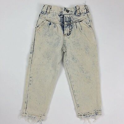 Vtg 80s Sears Acid Wash High Waist Toddler Jeans Straight Leg Light Wash 3T