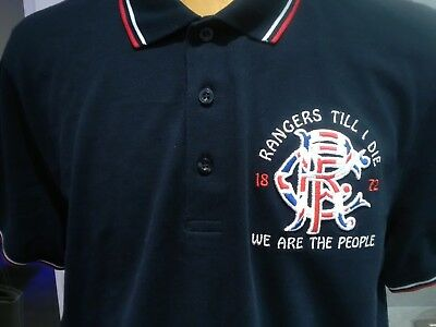 glasgow rangers polo shirt new navy with red and white trim