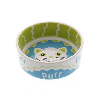 Cat Bowl Play Pals Purr Lime Green 12cm Dishwasher & Microwave Safe Kitten Food