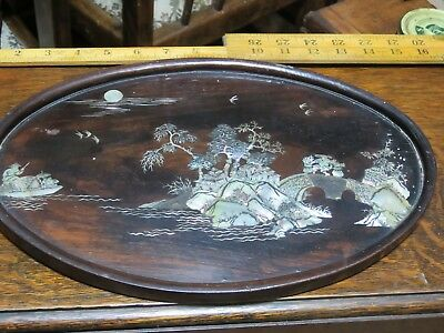 Antique Vintage Inlaid Chinese Mother of Pearl MOP Wooden Tea Drinks Tray