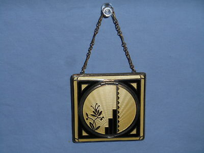Vintage 1930's Depose Art Deco Compact w/Double Sided Mirror and Chain