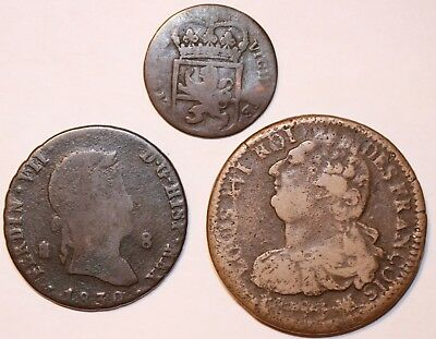 Lot of 3 Foreign Old World Copper & Brass Coins 1700's & 1800's            #234