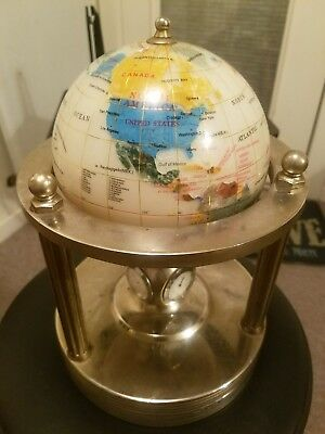 Gemstone Mother Of Pearl Globe rotating Clock, Thermometer & Hygrometer.