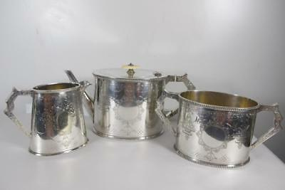 Antique Victorian Silver Plate Silverplated Engraved Teapot Creamer Sugar Set