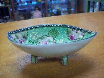 Antique Nippon  Bead Moriage Handpainted Floral Dish