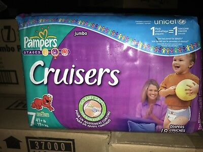 Vintage Pampers Cruisers Size 7 Diapers From 2008 18 Ct Sealed. #'s On Tape Line