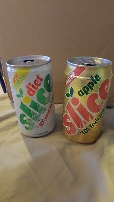 VINTAGE DIET SLICE & APPLE SLICE  12oz. ALUMINUM SODA POP CANS