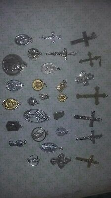 Antique Vintage Catholic Crosses and Pendants Religious Lot of 29 Pieces. Look.