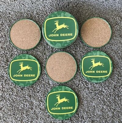 John Deere Metal & Cork Coasters In Tin Storage Container Set of 6