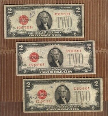 One 1928 $2 Two Dollar USA Legal Tender Note Red Seal Bill Old Paper Money Duece