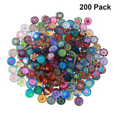 ULTNICE 200pcs Round Clear Mixed Cabochons Glass Mosaic Tiles for Jewlery Making